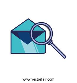 search magnifying glass with envelope mail