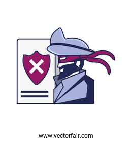 cybernetic pirate and document with shield