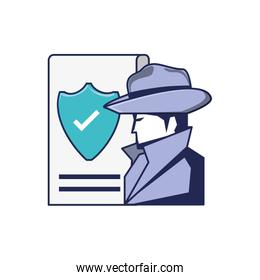 cyber security agent and document with shield