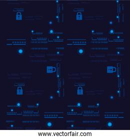 padlock and password pattern background