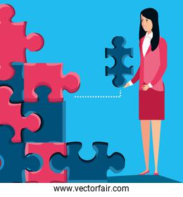 business women with of puzzle pieces