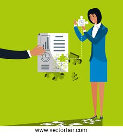 businesswoman with puzzle pieces in shape statistical report
