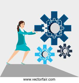 businesswoman with puzzle pieces in shape gear
