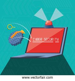 laptop computer with set icons cyber security