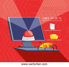 desktop computer with set icons cyber security