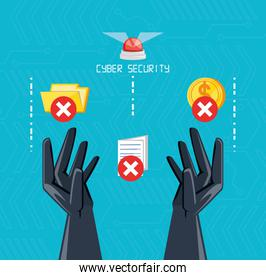 hands with icons of cyber security