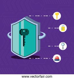 shield with set icons cyber security