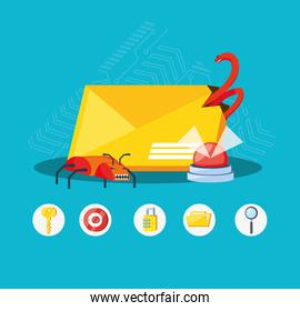 envelope mail with set icons cyber security