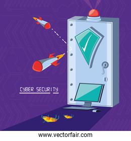 safe box with set icons cyber security