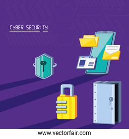 smartphone with icons cyber security