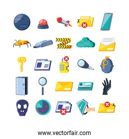 set icons of cyber security
