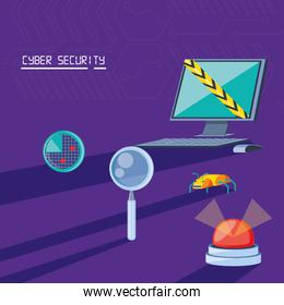 desktop computer with icons cyber security