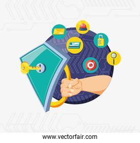 hand with shield and set icons cyber security