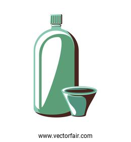 glass bottle with cup isolated icon
