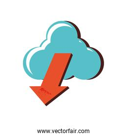 cloud computing with arrow down over white