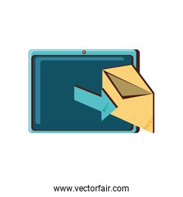 tablet device with envelope mail and arrow