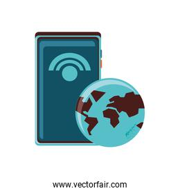 smartphone with planet earth and signal wifi