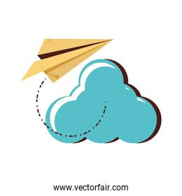 cloud computing with airplane paper