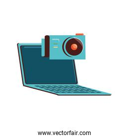 laptop computer with camera photography