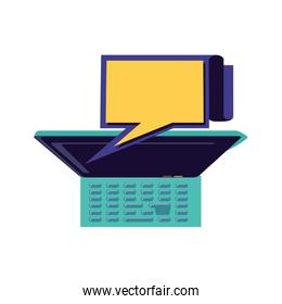 view aerial of laptop with speech bubble