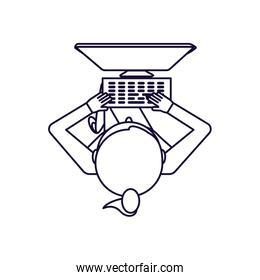 view aerial of woman with desktop computer