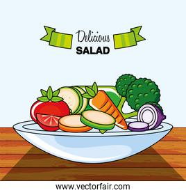 dish with delicious salad