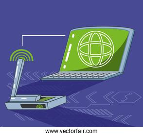 laptop computer with browser and router