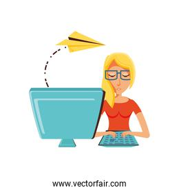 woman with desktop computer and airplane paper