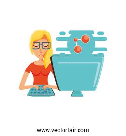 woman with desktop computer and share symbol
