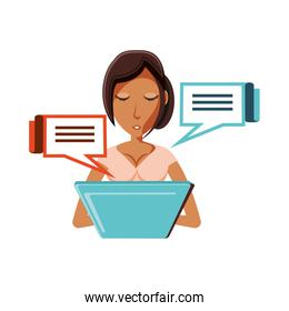 woman with laptop and speech bubbles