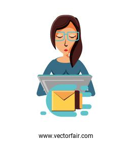 woman with laptop and envelope mail