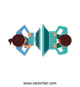 view aerial of couple with computers