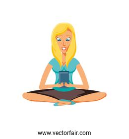 woman sitting with smartphone device