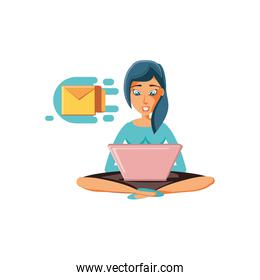 woman sitting with laptop and envelope mail