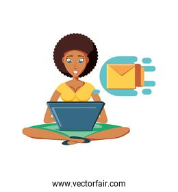 woman black sitting with laptop and envelope mail