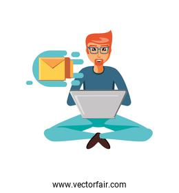 man sitting with laptop and envelope mail