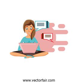 woman sitting with laptop and speech bubbles