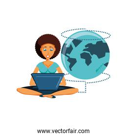woman sitting with laptop and planet earth