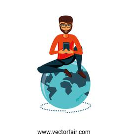 man sitting with smartphone and planet earth