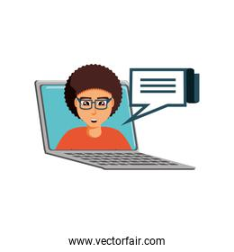 man in laptop computer with speech bubble
