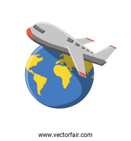 world planet earth with airplane