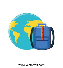 world planet earth with briefcase