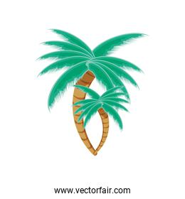 green palms trees isolated icon