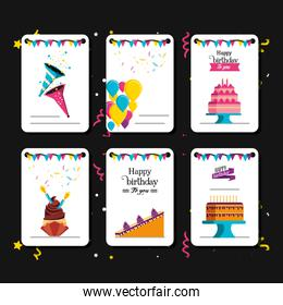 set of birthday card with decoration
