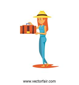 woman tourist with suitcase avatar character