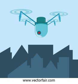 drone technology flying in the city