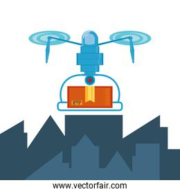 drone technology with box carton in cityscape