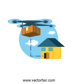 drone technology with box carton and house