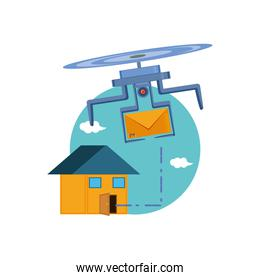 drone flying with envelope and house