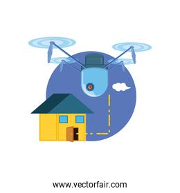 drone technology flying with house